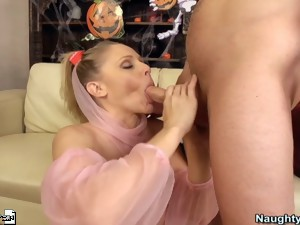 Naughty Milf Julia Ann fucks and sucks a huge cock.