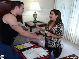 Foxy Milf Francesca Lé fucks and sucks her son's friends big dick.