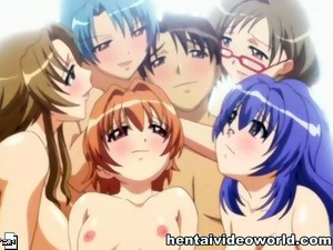 Busty lesbians in anime orgy video