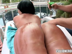 Sandra is sexy mom with amazing big boobs and pert huge ass! This man is really lucky, she