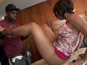Young black stepbrother wants to taste his stepsisters pussy. When they remain alone