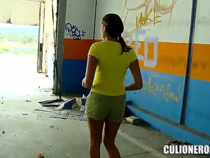 We met Sensual Jane at an abandoned factory. This hot bombshell has something to surprise us! Just