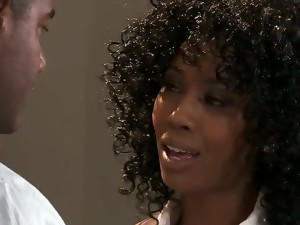Curly and very hot ebony babe Misty Stone seduces her colleague and they engage in