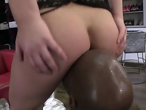 Amazing blonde slut Lana A is having fun with her butt siting on a black dude and making
