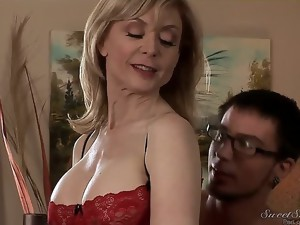 Delightful blonde MILF Nina Hartley is a college teacher. Her student Dane Cross cant pass the exam