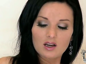 Awesome gorgeous brunette milf Vanessa Jordin with alluring eyes and perfect