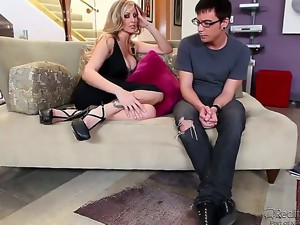 Julia Ann is one bombshell milf with tits nearly popping out of her cleavage, and Dane Cross