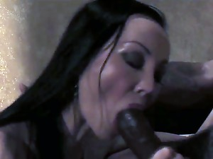 Seductive skinny black haired asian milf Ange Venus with huge hooters and heavy make up in