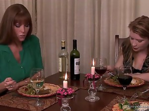Madison Young is having dinner with Alia Starr and Darla Crane, and they exchange