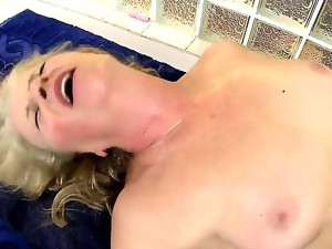 Horny and still good grandma Gabi today is having a nice and young big cock fuck her old