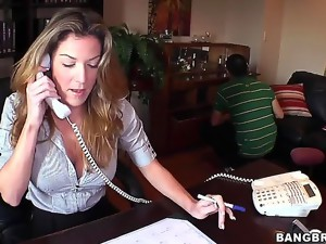 Check out with beautiful Kayla Paige. Today alluring MILF is late at work and decides
