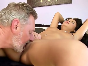 Amabella is feeling very lonely and horny so she is being fucked by handsome and bearded grandpa and