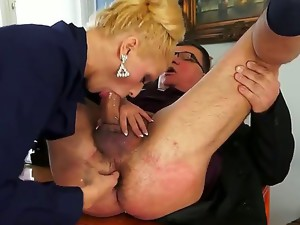 Chary Kiss is a very strict boss but she is ready to do everything to make