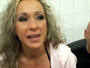 Watch as this curly haired blonde MILF has her ass hole and pussy tended to properly, both with