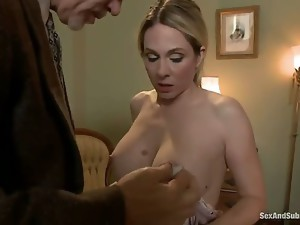 Blonde milf Angela Attison works as a hotel maid and loves playing with her sex toys on her