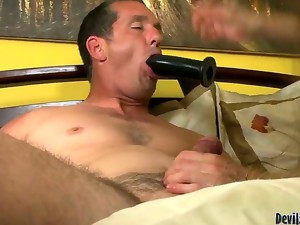 Alexandra Silk is giving her new man Paul Carrigan a great bj while he is sucking on a toy as well.