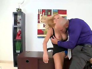 Busty and hot blonde milf with