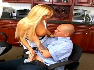 Long haired mature seductive and experienced blonde secretary Holly Halston with enormously big melons