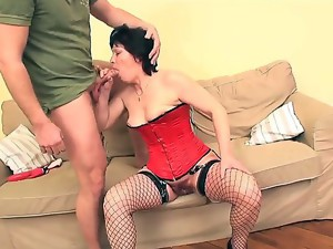 Lusty cock hungry black haired mature milf Eva with natural boobs in fishnet stockings and high