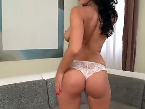 Dirty and really hot dark haired milf Kira Queen in her sexy lingerie strips and exposes