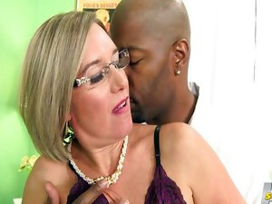 Couple;Vaginal Sex;Masturbation;Oral Sex;Mature;Blonde;Caucasian;Interracial;Vaginal Masturbation;Blowjob;Licking Vagina;Shaved;Stockings;Cum Shot;Big Cock;Glasses