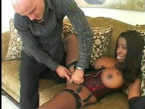Couple;Vaginal Sex;Oral Sex;Anal Sex;Black-haired;Big Tits;Ebony;Interracial;Blowjob;Deepthroat;Stockings;Gagging;Cum Shot