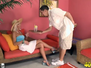 The cabana boy serves Stormy a cum cocktail