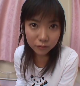 Cute Japanese chick with huge eyes sucking cock until she gets moist lips from cum in her mouth